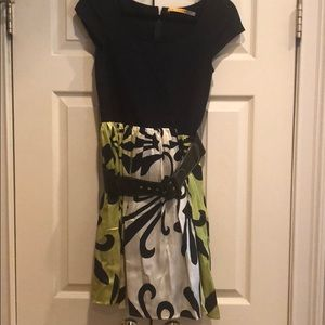 Alice and Olivia Belted Dress Black and Green S